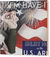 Vintage Style Pinup Recruiting Poster Wood Print