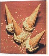 Vintage Summer Ice Cream Spill Wood Print