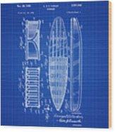Vintage Surf Board Patent Blue Print 1950 Wood Print