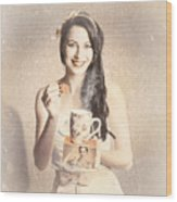 Vintage Tea Advertisement Pin-up Wood Print