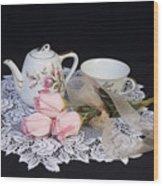 Vintage Tea Set Wood Print