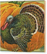 Vintage Thanksgiving Card Wood Print