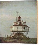 Vintage Thomas Point Shoal Lighthouse Wood Print