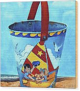 Vintage Tin Sand Bucket Wood Print