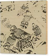 Vintage Toned Owls Wood Print