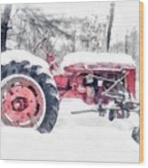 Vintage Tractor Christmas Wood Print