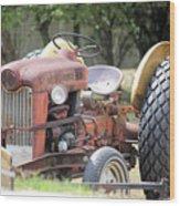 Vintage Tractor In Color Wood Print