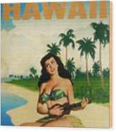 Vintage Travel Hawaii Wood Print