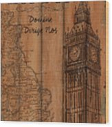 Vintage Travel London Wood Print