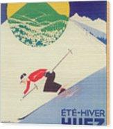 Vintage Travel Skiing Wood Print