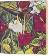 Vintage Tropical Flowers Wood Print