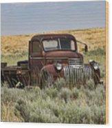 Vintage Truck In Field Wood Print