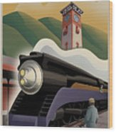 Vintage Union Station Train Poster Wood Print