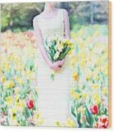 Vintage Val Spring Tulips Wood Print
