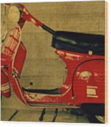 Vintage Vespa Scooter Red Wood Print