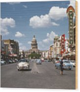 Vintage View Downtown Austin Looking Up Congress Avenue In Front Wood Print