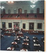Vintage View Of The Senate Chamber, The Texas Capitol, May 1990 Wood Print