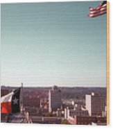 Vintage View Of The Texas And Usa Flags Flying On Top Of Texas State Capitol Wood Print