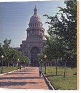 Vintage View Of The Texas State Capitol In Downtown Austin, Texas Wood Print