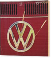 Vintage Vw Bus Logo Wood Print
