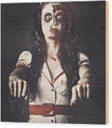 Vintage Walking Dead Horror Nurse Wood Print