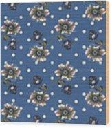 Vintage Wallpaper Seamless Rose Flower Pattern On Circles Polka  Wood Print