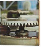 Vintage Water Pump With Gears Wood Print