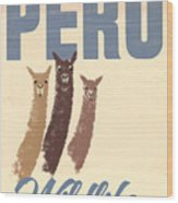 Vintage Wild Life Travel Llamas Wood Print