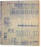 Vintage Yankee Stadium Blueprint Wood Print