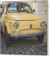 Vintage Yellow Fiat 500 In Rome Wood Print