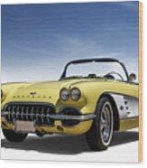 Vintage Yellow 'vette Wood Print