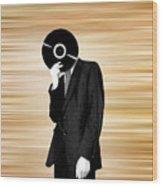 Vinyl Head Wood Print