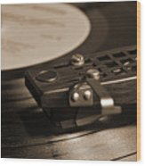 Vinyl Record Playing On A Turntable In Sepia Wood Print