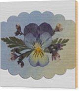 Viola Pressed Flower Arrangement Wood Print
