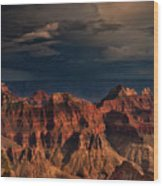 Violent Storm Over The North Rim Grand Canyon National Park Arizona Wood Print