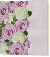 Violet  And White Roses Wood Print