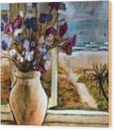 Violet Beach Flowers Wood Print