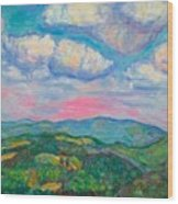 Violet Evening On Rocky Knob Wood Print