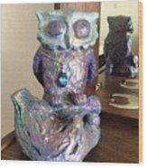 Violet Owl Wood Print