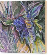 Violets and Miss Butterfly Wood Print