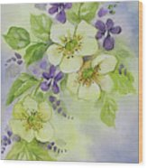 Violets And Wild Roses Wood Print