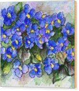Violets Of Blue Wood Print