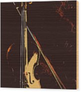 Violin And Bow  Wood Print