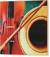 Violin And French Horn Wood Print