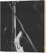 Violin Bow Black And White Wood Print