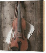 Violin Wood Print by Garry Gay