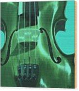 Violin In Green Wood Print