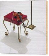 Violin In Silhouette Wood Print