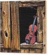 Violin In Window Wood Print