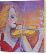 Violin Player Wood Print